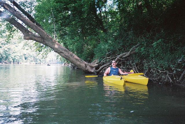 man with two yellow kayaks paddling down the side of a river