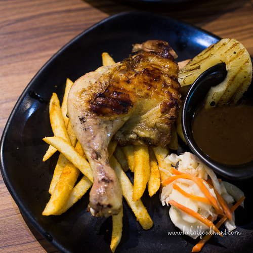 Tender chicken leg with a dish of slurp able bbq sauce halalfoodhunt