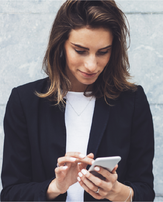 Woman scrolling on mobile phone