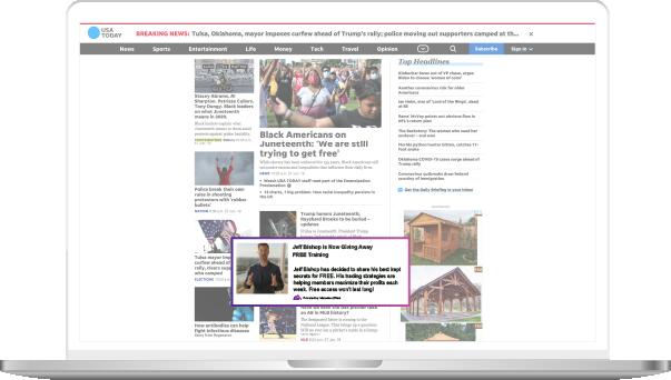 Laptop displaying native ads
