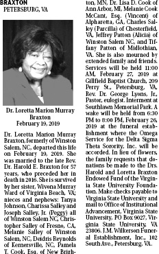 Obituary For Dr Loretta Marion Murray Braxton