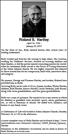 Obituary for Roland S  Hartley