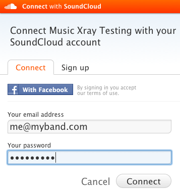 Sign into SoundCloud with Facebook