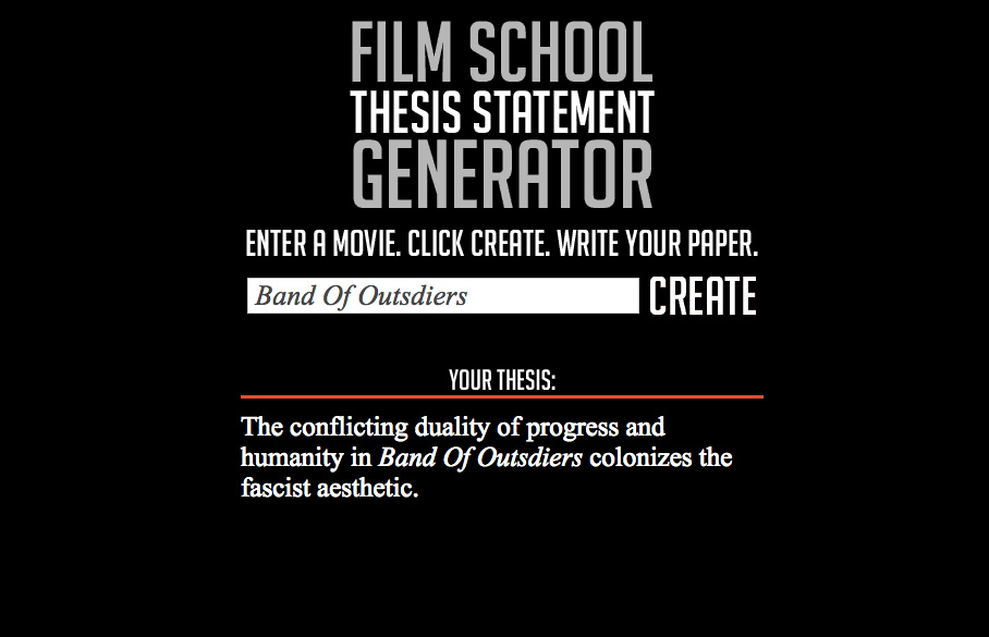 Film School Thesis Statement Generator