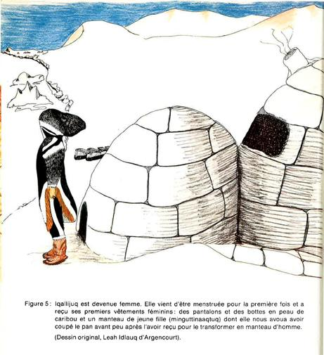 Drawing of a woman, wearing traditional women's clothes, in front of an igloo. We see the entrance and the main room of the igloo. Further away, we see snow mountains.