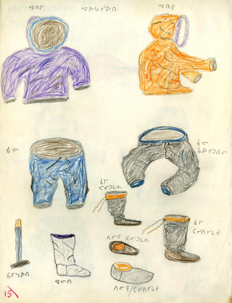 Drawing showing 2 parkas for the summer, 2 pair of pants, waterproof winter boots, softener skin boots, stockings winter, waterproof boot liners, a winter boot softened.