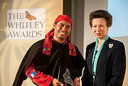 Carlos Vásquez Almazán receives the Whitley Fund for Nature Award from HRH The Princess Royal at the Royal Geographical Society, London, May 9th, 2012. Photo: James Finlay