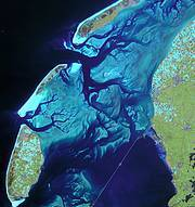 Sandbanks in the Wadden Sea Netherlands Photo: ESA