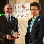 Rodrigo Medellin receives the Whitley Fund for Nature Gold Award from HRH The Princess Royal at the Royal Geographical Society, London, May 9th, 2012 (Photo: James Finlay)