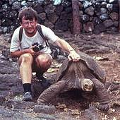 Anders Rhodin with Lonesome George in 1982 at the Charles Darwin Research Station (Photo: Anders G.J. Rhodin)