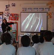 Dr. Earle visiting the local school on Ascension Island Photo: Dan Laffoley