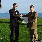 Olivier Laroussinie, Agence française des Aires Marines Protégées et Antonio Troya, UICN-Med le 25 novembre 2011 (Photo: Alain Jeudy)