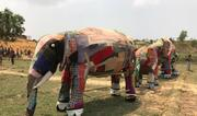 Elephant puppets made of colourful cloth over bamboo frames. Photo: © Caroline Gluck / UNHCR.