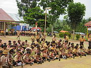 Wonosari Primary School students prepare for tree planting Photo: Lynn Clayton YANI