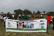 Anti-poaching banner being shown at football cup Photo: WCS