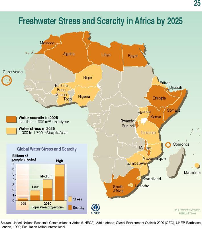 Freshwater stress and scarcity in Africa by 2025