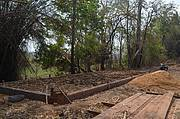 The foundations for the dining area of the eco-lodge have been laid. Photo: WCS Cambodia