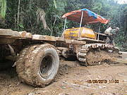 Illegal logging tractor trailer combination. Photo: Khamhou Thongsamouth