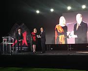 IUCN Red List Programme Officer Caroline Pollock accepting the Prince Albert II of Monaco Biodiversity Award. Photo: Julia Marton-Lefèvre