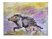 White-lipped Peccary art by Diana L. Andersen. Photo: Diana L. Andersen