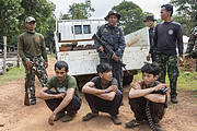 Siam rosewood poachers caught by anti-poaching patrol. Photo: Ann & Steve Toon