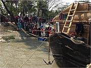 Crowds queued up to learn about cetaceans aboard the Shushuk Mela. Photo: WCS Bangladesh