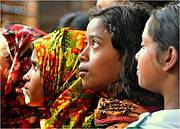 Schoolgirls listen raptly to student interpreter. Photo: WCS Bangladesh