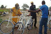 Handing new bicycles to CVV members Photo: Tedros Medhrin