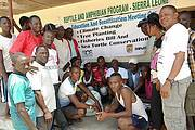 Education and sensitization meeting at Chepu on Sherbro Island. Photo: Augustine Sesay
