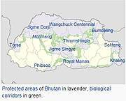 Bhutan's protected areas and corridors. Photo: Wikipedia