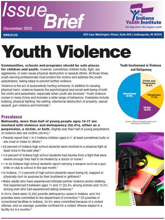 report on youth violence Report summary at the request of supporting a future evaluation of the seattle youth violence prevention initiative prevalent youth violence problems.