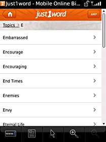 blackberry bible app screen Topics