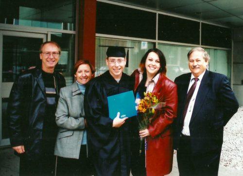 Jacques, Céline, Marc-André, Isabel et son père Jean-Pierre Théoret.