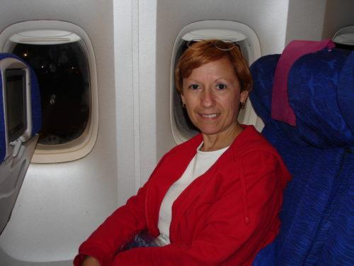 Mai 2005, dans l'avion qui nous mène en Floride.