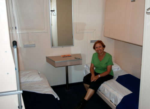 Céline dans sa cabine du Raffaele rubattino,, Palerme, le 19 octobre 2008