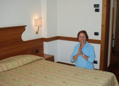 Céline, dans notre chambre d'hôtel à Assise, le 15 octobre 2009