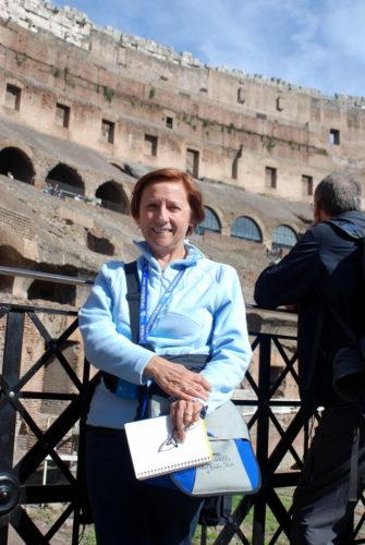 Le 21 octobre 2009, Céline à l'intérieur du Colisée de Rome