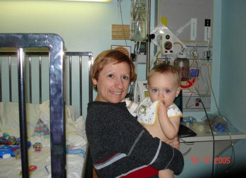 Céline et Félix à l'hôpital de Saint-Jérôme.