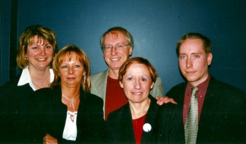 11 avril 2002... Noella Pilon, Johanne Larochelle, Céline et Marc-André m'entourent