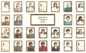 Voici d'ailleurs la photo officielle de sa classe, toujours à l'école Pie XII de Saint-Léonard.
