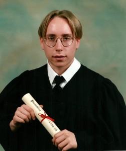 Et voilà, notre fils est en possession de son diplôme de secondaire V (mai 1996)