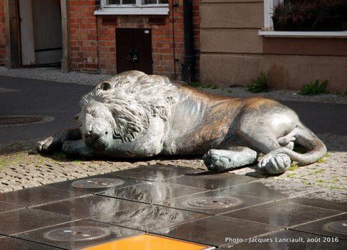 Fontaine aux quatre lions, Gdańsk, Pologne