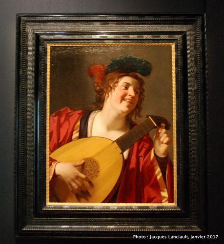 """Femme accordant un luth"", Gerrit van Honthhorst (1624), MBAM"