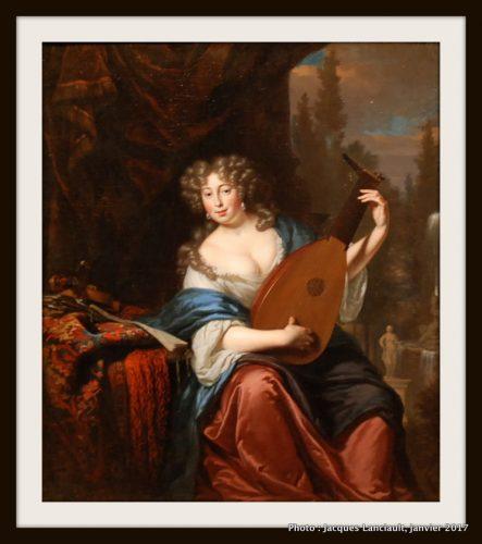 """""""Portrait d'une femme jouant du luth """", Michiel van Musscher (1680), MBAM"""