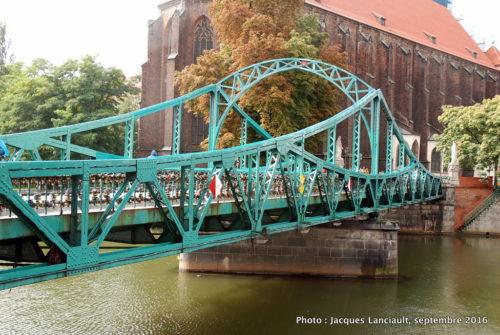 Le pont Tumski, île Ostrów Tumski, Wrocław, Pologne