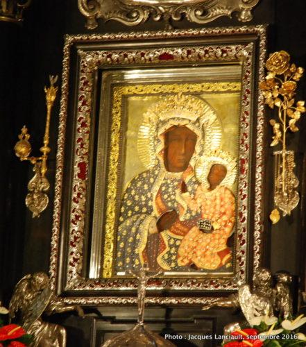 Icône de la Vierge noire, chapelle Notre-Dame, sanctuaire de Jasna Góra, Częstochowa, Pologne