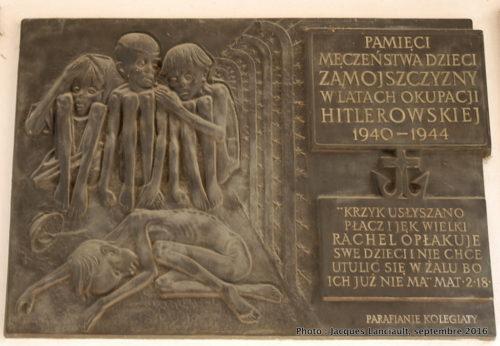 Plaque commémorative, Zamość, Pologne