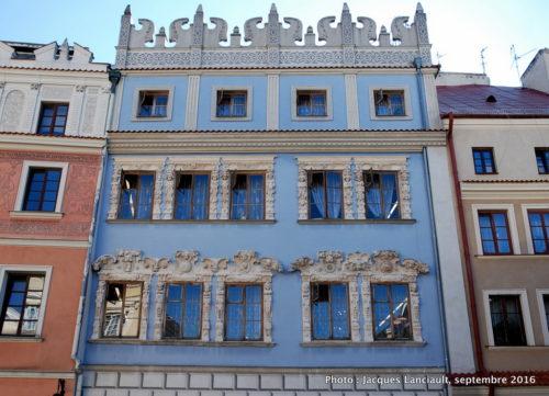 Façades des maisons de la vieille ville de Lublin, Pologne