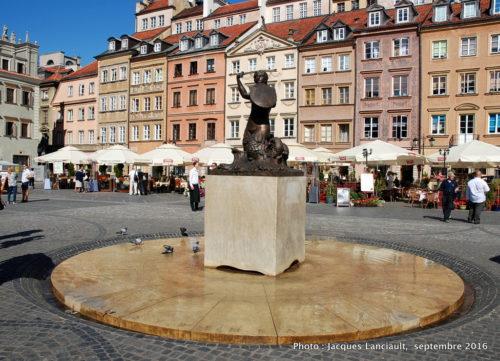 La Sirène, place du marché de la vieille ville, Varsovie, Pologne