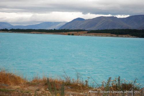 Lac de rétention, Canterbury, île du Sud, Nouvelle-Zélande